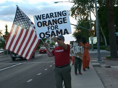 Sign - Wearing Orange For Osama