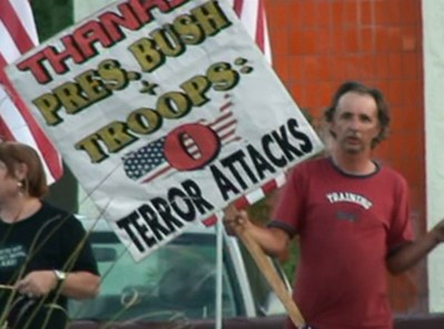 Sign - Thank you Pres Bush and Troops zero attacks